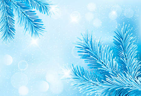 blue light: Christmas blue background with christmas tree branches and snowflakes.