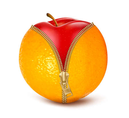 cellulite: Unzipped orange with red apple. Fruit and diet against cellulite. Vector