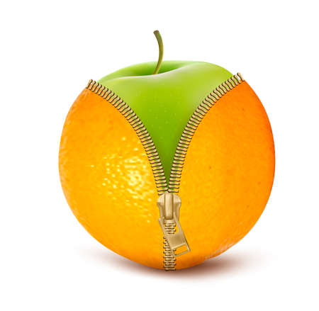 Unzipped orange with green apple. Fruit and diet against cellulite. Vector