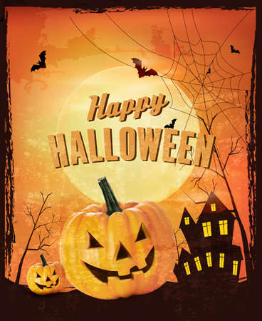terribly: Retro Halloween background Vector