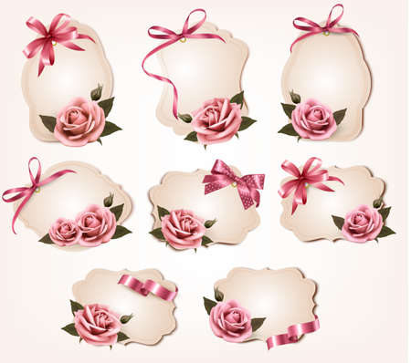 Collection of retro greeting cards with pink roses. Vector illustration. Vector