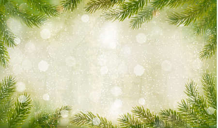 december holidays: Christmas retro background with christmas tree branches. Vector.