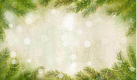 schneeflocke: Weihnachten Retro-Hintergrund mit Weihnachtsbaum Zweigen. Vector.