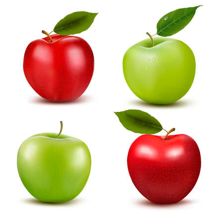 Set of red and green apple fruits with cut and green leaves. Vector illustration.  Illustration