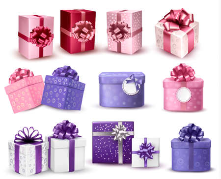 Set of colorful gift boxes with bows and ribbons. Vector illustration. Illusztráció