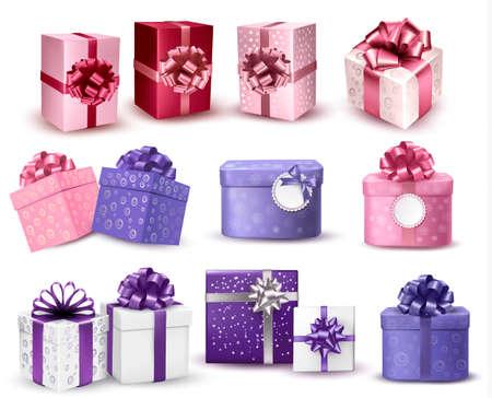 Set van kleurrijke geschenk dozen met bogen en linten. Vector illustratie.