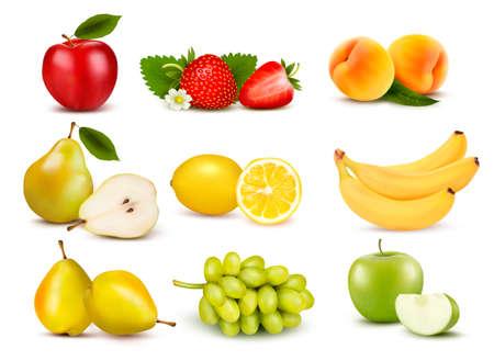 pera: Gran grupo de diferentes frutas. Vector.
