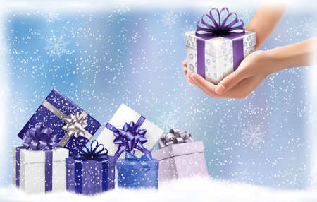 desember: Christmas background with gift boxes. Concept of giving presents. Vector illustration.