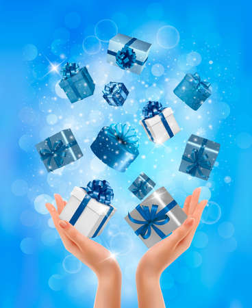 desember: Holiday background with hands holding gift boxes. Concept of giving presents. Vector illustration.  Illustration