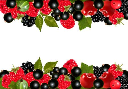 eating food: Sfondo con frutti di bosco freschi e ciliegie. Vector illustration