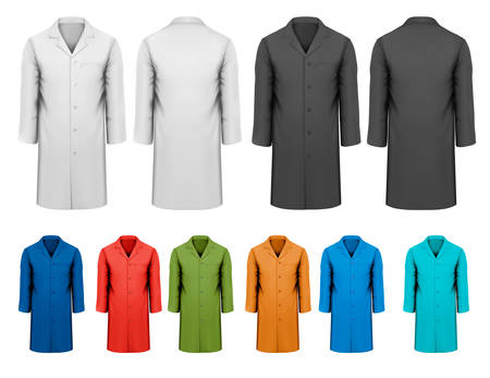 ropa trabajo: Conjunto de ropa de trabajo color blanco y negro y color. Vector