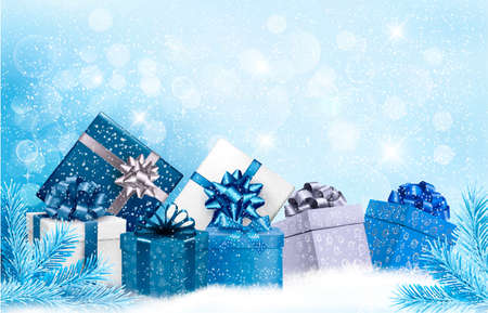 holiday season: Christmas blue with gift boxes and snowflakes. Vector Illustration