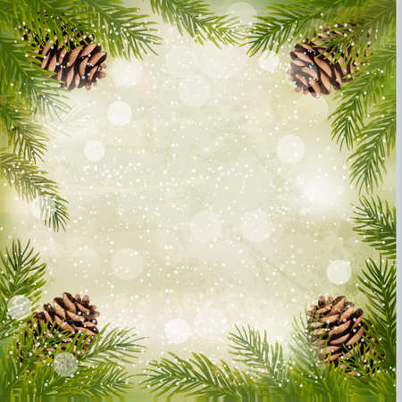 pine cones: Frame made of christmas tree branches with pine cones. Vector.