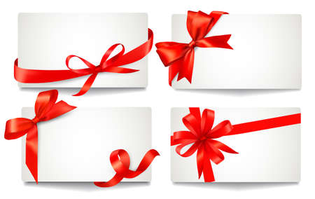 ribbons vector: Set of beautiful gift cards with red gift bows with ribbons Vector