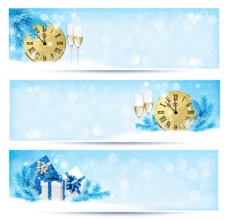 Three christmas banners with gift boxes and snowflake. Vector illustration.  Vector
