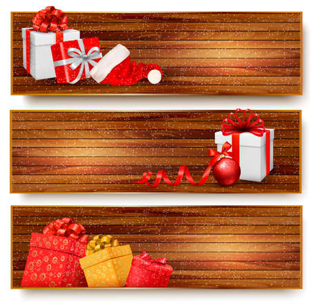 Three christmas banners with gift boxes and santa hat. Vector illustration Vector