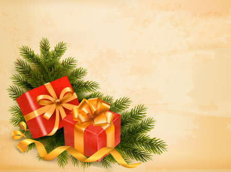 desember: Christmas retro background with tree branches and gift boxes. Vector.