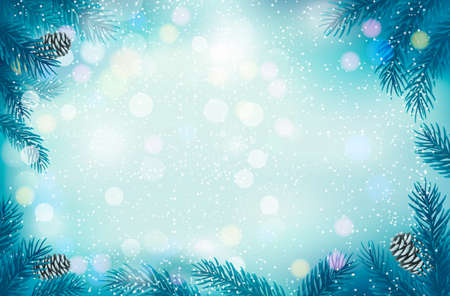 Christmas retro background with tree branches and snowflakes. Vector.  Vector