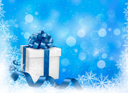 desember: Christmas blue background with gift box and snowflakes. Vector illustration.
