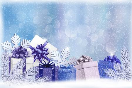 desember: Christmas blue background with gift boxes and snowflakes. Vector Illustration