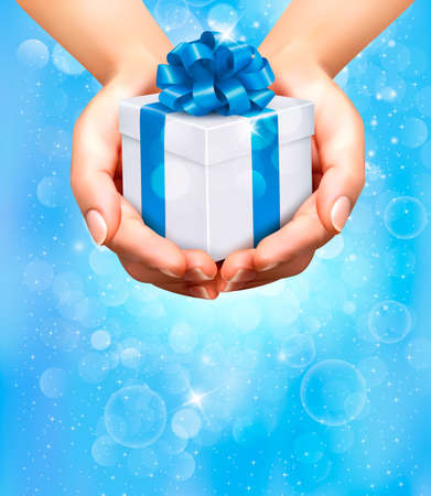 desember: Holiday background with hands holding gift boxes  Concept of giving presents  Illustration