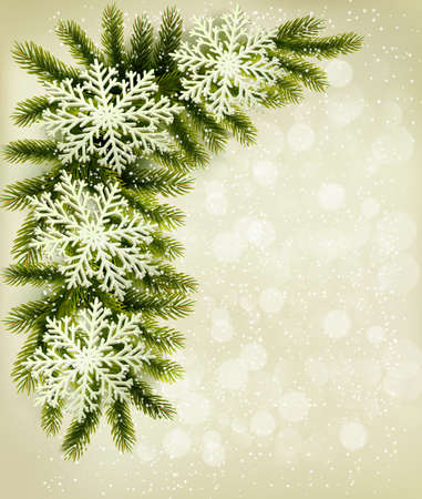 desember: Christmas retro background with christmas tree branches and snowflakes. Vector  Illustration
