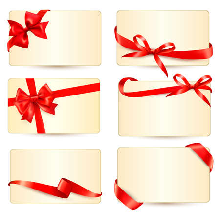 card colour: Set of beautiful gift cards with red gift bows with ribbons Vector