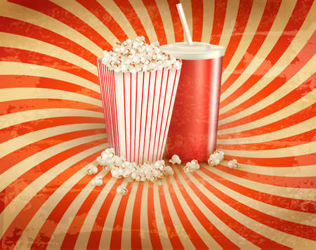 cocacola: Retro background with Popcorn and a drink. Vector illustration