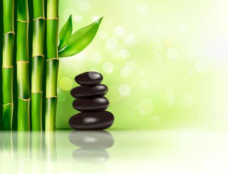 bambou: Spa fond avec du bambou et de pierres. Vector illustration.
