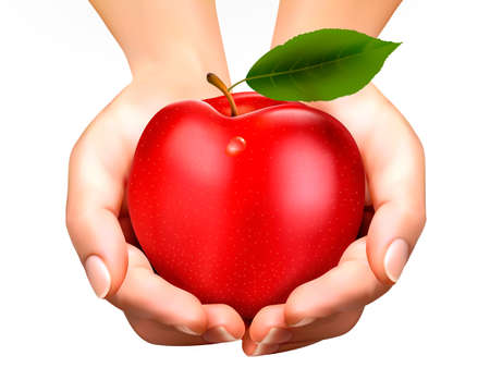 give hand: ed ripe apple in a hands. Concept of diet. Vector.  Illustration