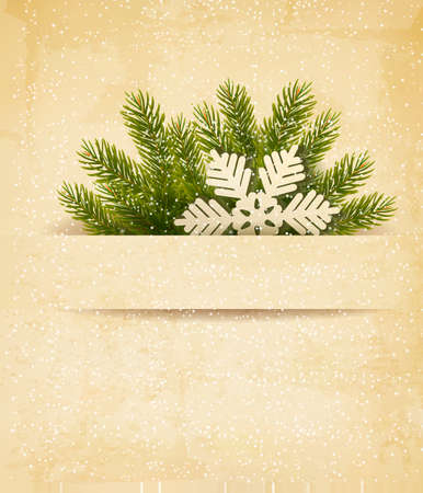 desember: Christmas retro background with tree branches and snowflake. Vector.