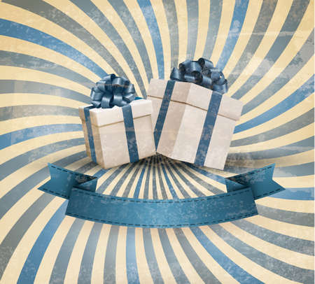 Retro holiday background with blue gift ribbon with gift boxes. Vector Vector