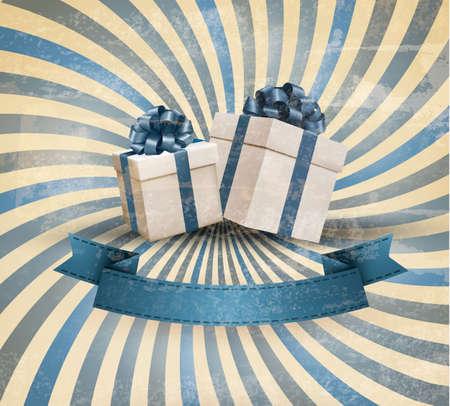 Vacaciones de fondo retro con cinta de regalo de color azul con cajas de regalo. Vector