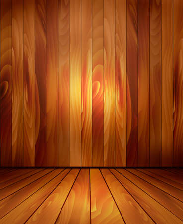 Background with wooden wall and a wooden floor. Vector.  Vector