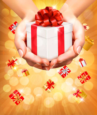 Holiday background with hands holding gift boxes. Concept of giving presents. Vector