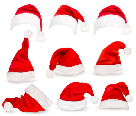 claus: Collection of red santa hats. Vector.