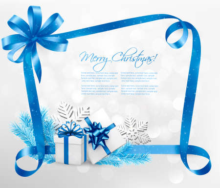 holiday icons: Holiday background with blue gift bow and gift boxes. Vector.