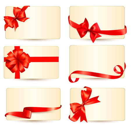 Set of beautiful gift cards with red gift bows with ribbons Vector Stock Vector - 23701905