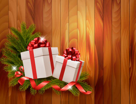 desember: Holiday background with gift ribbon with gift box Vector