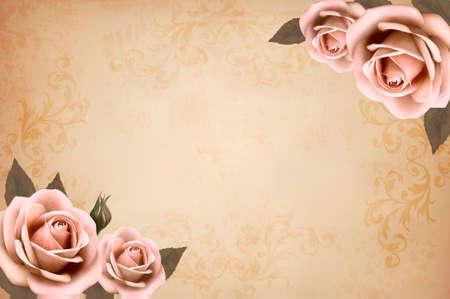 vendimia: Rosas rosadas en un fondo de papel viejo de la vendimia. Vector. Vectores
