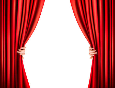 window curtains: Background with red velvet curtain. Vector illustration.