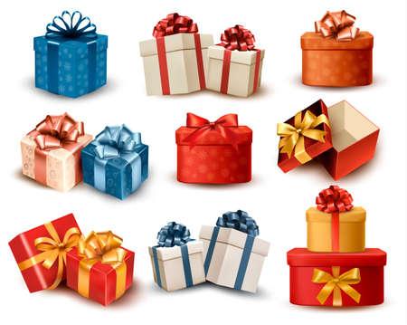Conjunto de caixas de presente retrô colorido com arcos e fitas. Ilustração vetorial Ilustración de vector