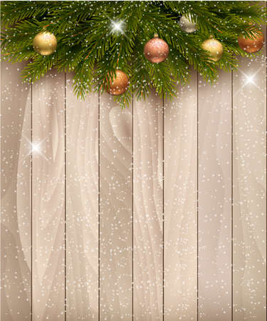 pine boughs: Christmas decoration on wooden background. Vector. Illustration