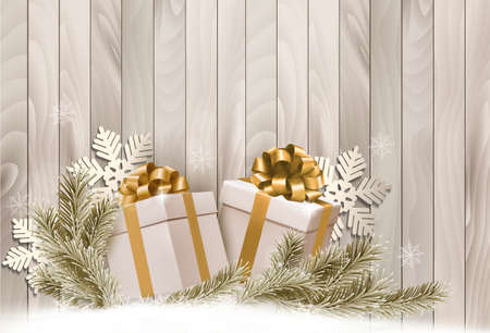 Christmas holiday background with gift ribbon with gift boxes Vector  Vector