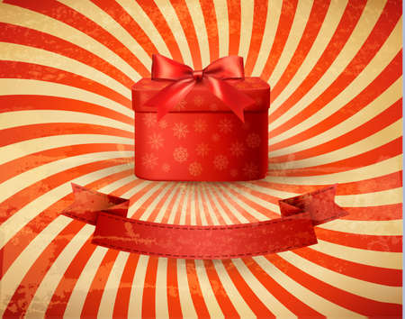 red gift box: Vintage holiday background with red gift box. Vector illustration.