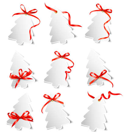 undressing: Set of beautiful gift cards with red gift bows with ribbons Vector