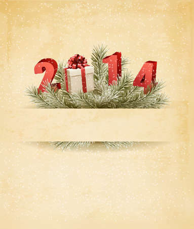 Happy new year 2014! New year design template. Vector illustration. Vector