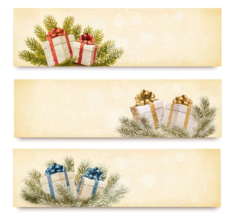 desember: Three christmas banners with gift boxes and snowflake. Vector illustration.
