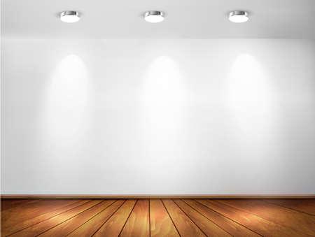 mur platre: Mur avec des spots et plancher en bois. concept de salle d'exposition. Vector illustration.