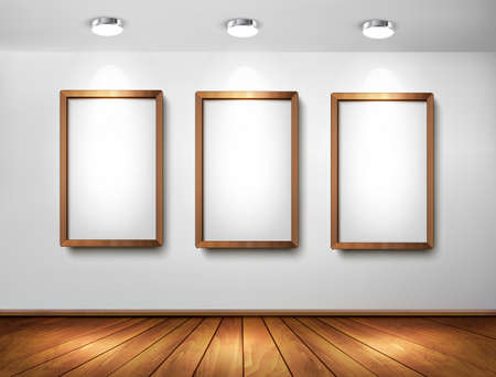 art gallery: Empty wooden frames on wall with spotlights and wooden floor. Vector illustration.  Illustration